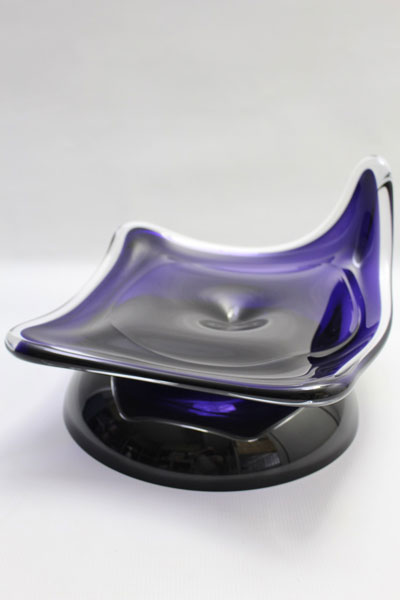 Crystal glass contemporary unique leaf plate on stand